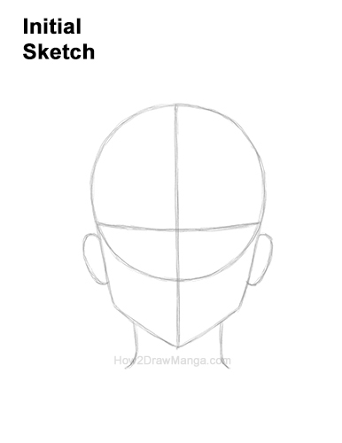 How to Draw Basic Manga Boy Head Front Face Anime Chibi Kawaii Guides Guidelines