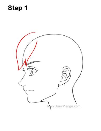 How to Draw Manga Boy Shaggy Hair Side View Anime Chibi Kawaii 1