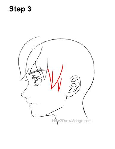 How to Draw Manga Boy Shaggy Hair Side View Anime Chibi Kawaii 3