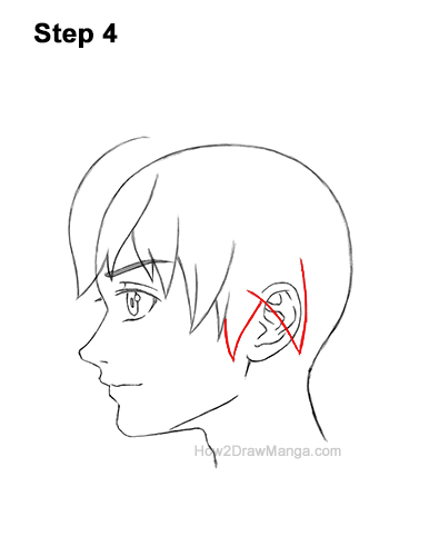 How to Draw Manga Boy Shaggy Hair Side View Anime Chibi Kawaii 4