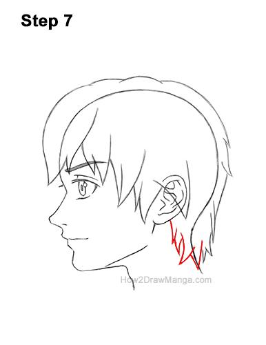 How to Draw Manga Boy Shaggy Hair Side View Anime Chibi Kawaii 7