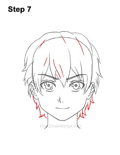 How to Draw Manga Boy Short Shaggy Messy Hair Front Anime Chibi Kawaii 7
