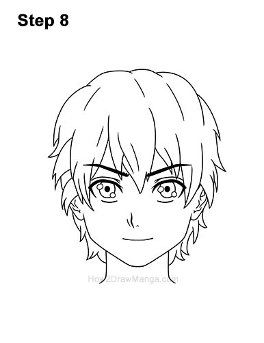 How to Draw Manga Boy Short Shaggy Messy Hair Front Anime Chibi Kawaii 8