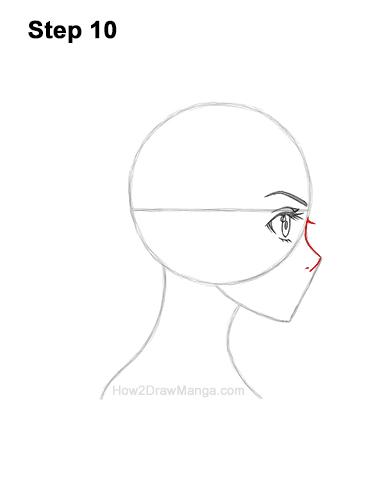 How to Draw Basic Manga Girl Head Face Side View Anime Chibi Kawaii 10