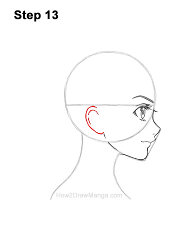 How to Draw Basic Manga Girl Head Face Side View Anime Chibi Kawaii 13