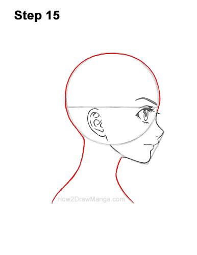 How to Draw Basic Manga Girl Head Face Side View Anime Chibi Kawaii 15