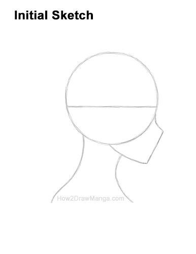 How to Draw Basic Manga Girl Head Face Side View Anime Chibi Kawaii Initial Sketch