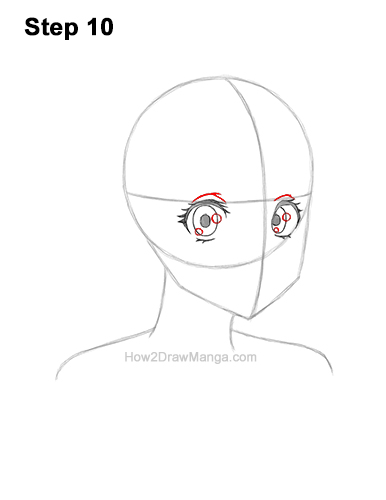 How to Draw Basic Manga Girl Head Face Three Quarter 3/4 View Anime Chibi Kawaii 10