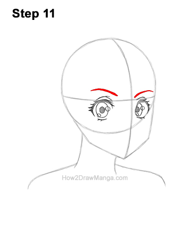 How to Draw Basic Manga Girl Head Face Three Quarter 3/4 View Anime Chibi Kawaii 11