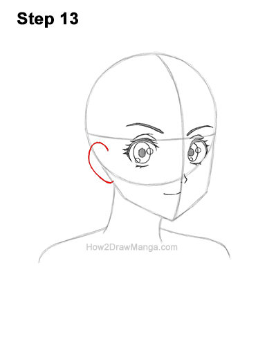 How to Draw Basic Manga Girl Head Face Three Quarter 3/4 View Anime Chibi Kawaii 13