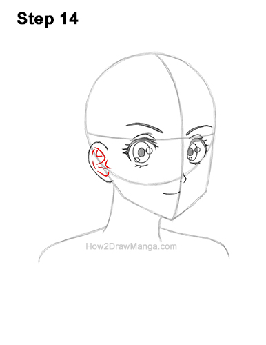 How to Draw Basic Manga Girl Head Face Three Quarter 3/4 View Anime Chibi Kawaii 14