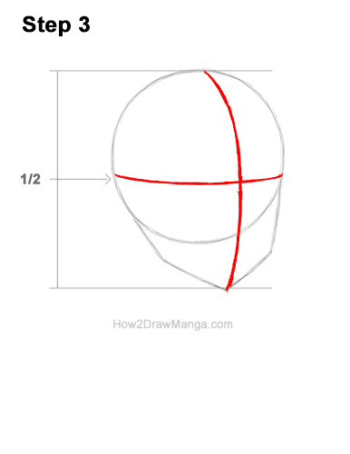 How to Draw Basic Manga Girl Head Face Three Quarter 3/4 View Anime Chibi Kawaii 3