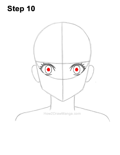 How to Draw Basic Manga Girl Head Front Face Anime 10