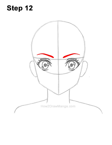 How to Draw Basic Manga Girl Head Front Face Anime 12