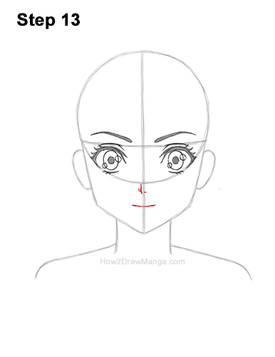 How to Draw Basic Manga Girl Head Front Face Anime 13