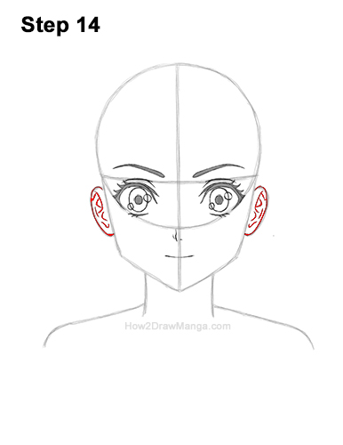 How to Draw Basic Manga Girl Head Front Face Anime 14