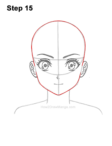 How to Draw Basic Manga Girl Head Front Face Anime 15