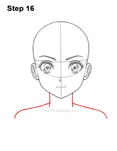 How to Draw Basic Manga Girl Head Front Face Anime 16
