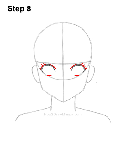 How to Draw Basic Manga Girl Head Front Face Anime 8