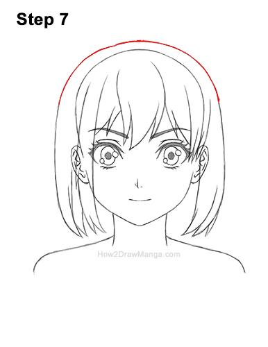 How to Draw Manga Girl Short Hair Front Anime Chibi Kawaii 7