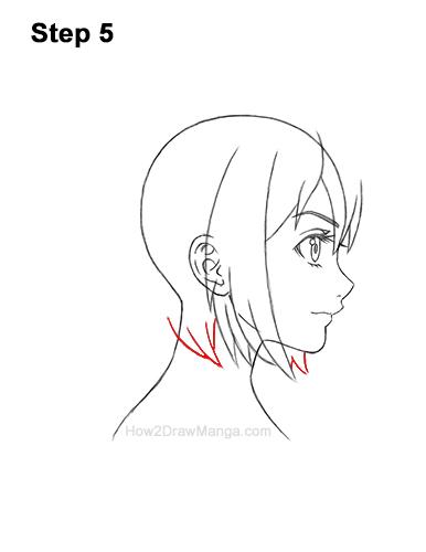 How to Draw Manga Girl Short Hair Side View Anime Chibi Kawaii 5