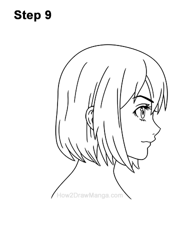 How To Draw A Manga Girl With Short Hair Side View Step By Step Pictures How 2 Draw Manga