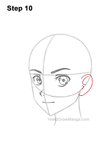 How to Draw Basic Manga Boy Head Face Three Quarter 3/4 View Anime Chibi Kawaii 10