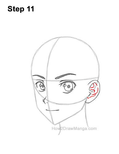 How to Draw Basic Manga Boy Head Face Three Quarter 3/4 View Anime Chibi Kawaii 11