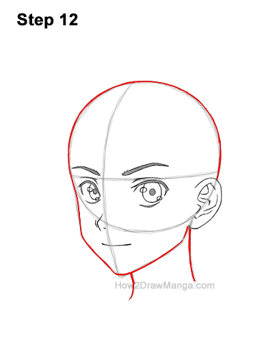 How to Draw Basic Manga Boy Head Face Three Quarter 3/4 View Anime Chibi Kawaii Last 12