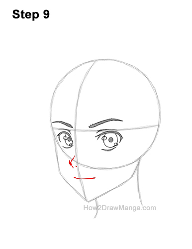 How to Draw Basic Manga Boy Head Face Three Quarter 3/4 View Anime Chibi Kawaii 9