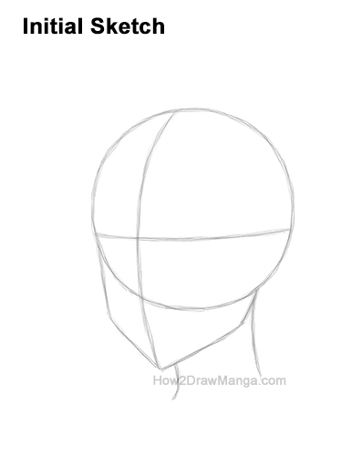 How to Draw Basic Manga Boy Head Face Three Quarter 3/4 View Anime Chibi Kawaii Guides Lines Guidelines