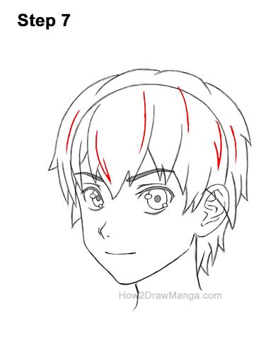 How to Draw Manga Boy Shaggy Messy Hair Three Quarter 3/4 View Anime Chibi Kawaii 7