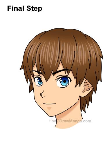 How to Draw Manga Boy Shaggy Messy Hair Three Quarter 3/4 View Anime Chibi Kawaii Last