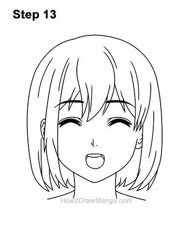 How to Draw a Manga Girl Happy Content Face Anime Chibi Kawaii 13