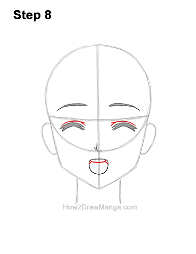 How to Draw a Manga Girl Happy Content Face Anime Chibi Kawaii 8