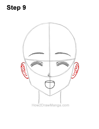 How to Draw a Manga Girl Happy Content Face Anime Chibi Kawaii 9