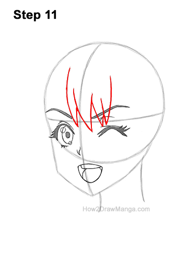 How to Draw a Manga Girl Face Wink Winking Anime Chibi Kawaii 11