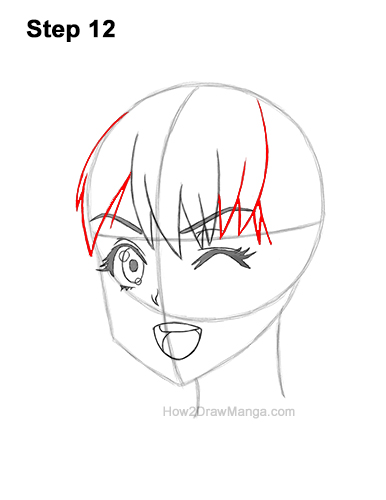 How to Draw a Manga Girl Face Wink Winking Anime Chibi Kawaii 12