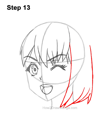 How to Draw a Manga Girl Face Wink Winking Anime Chibi Kawaii 13