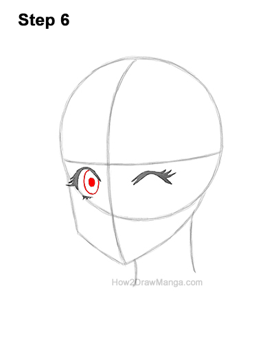 How to Draw a Manga Girl Face Wink Winking Anime Chibi Kawaii 6