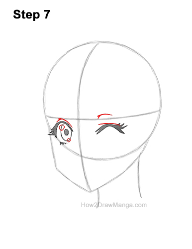 How to Draw a Manga Girl Face Wink Winking Anime Chibi Kawaii 7