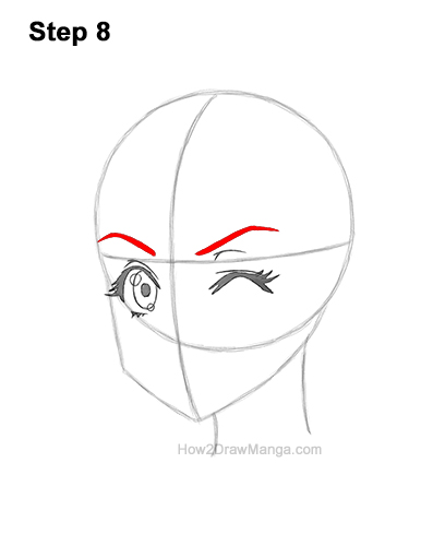 How to Draw a Manga Girl Face Wink Winking Anime Chibi Kawaii 8