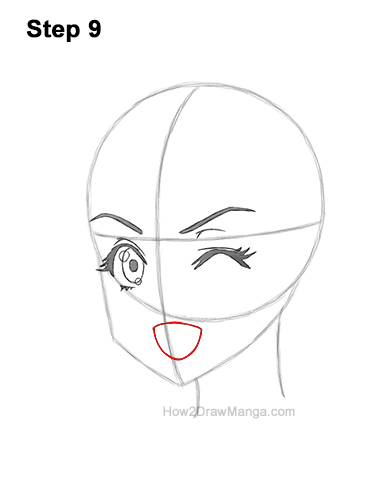 How to Draw a Manga Girl Face Wink Winking Anime Chibi Kawaii 9