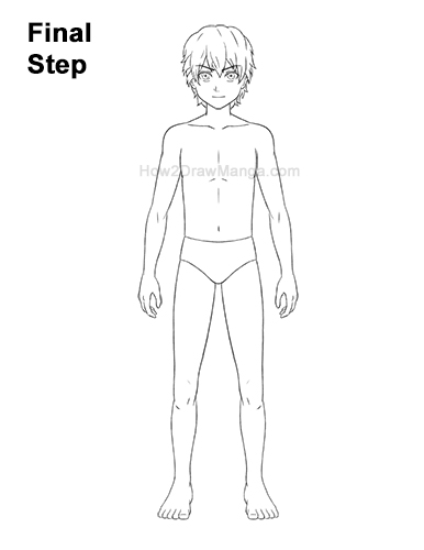 How to Draw a Basic Manga Boy Full Body Front Anime Last