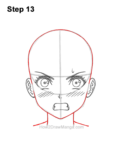 How to Draw a Manga Girl Angry Mad Face Anime Short Hair 13
