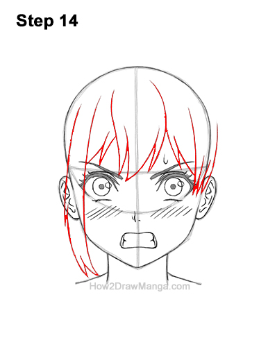 How to Draw a Manga Girl Angry Mad Face Anime Short Hair 14