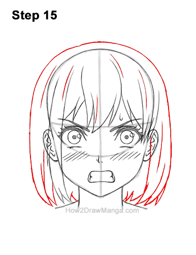 How to Draw a Manga Girl Angry Mad Face Anime Short Hair 15