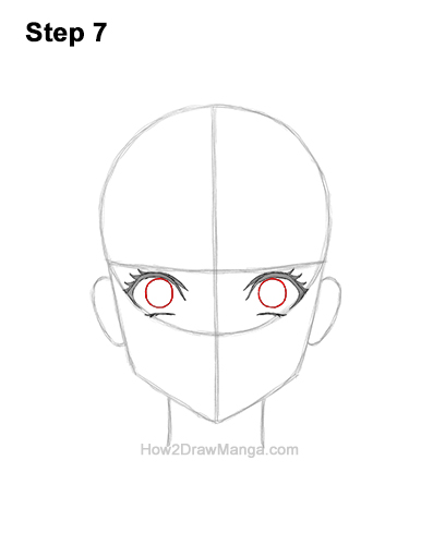 Inside each eye, draw a small oval for the manga girl's irises. The top parts of the ovals should touch the eyelashes, the bottom parts of the ovals should not.7