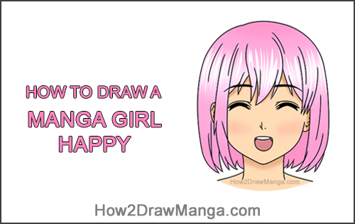 How to Draw a Manga Girl Happy Content Face Anime Chibi Kawaii