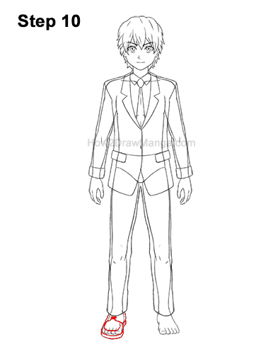 How to Draw a Manga Anime Boy Full Body School Uniform Seifuku Front 10